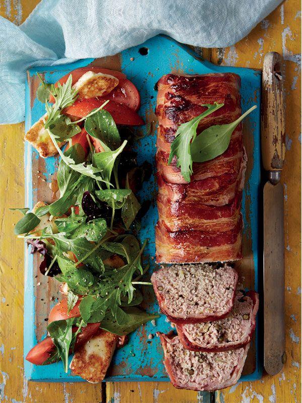 Quick Paprika Pork Loaf With Tomato Halloumi Salad