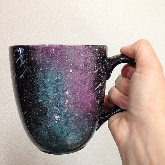 Hand Painted Galaxy Nebula Night Sky Mug Made To Order Mugs Pottery Mugs Glazes For Pottery