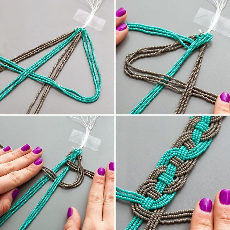 Easy braiding with strands of seed beads. #Beading #Jewelry #Tutorials