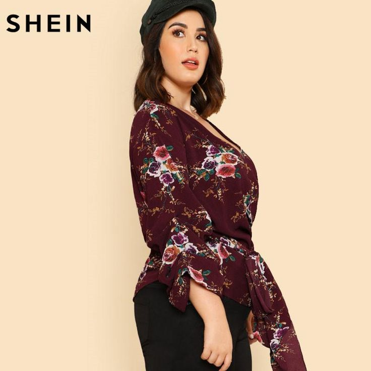 SHEIN Red Floral Plus Size Blouses Fashion Deep V Neck Sexy Long Sleeve Blouse Spring Autumn Print Large Size Belted Wrap Top