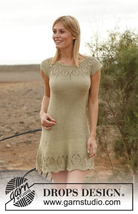 Knitted DROPS dress with round yoke and lace pattern in Muskat or Belle. Size: S - XXXL.