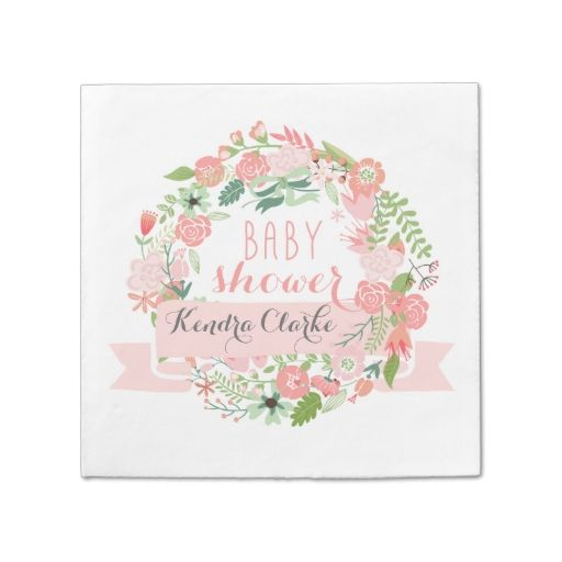 PRETTY FLORAL WREATH BABY SHOWER NAPKINS PAPER NAPKINS