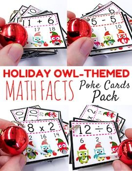 Poke games are a creative, simple, self-checking way for students to practice their math facts. And the cute holiday owl design is perfect for the Christmas season. My students love them!See how poke cards work in my Poke Cards Video.Included inside this 55-page bundle:All Addition Facts 1-12All Subtraction Facts 1-9All Multiplication Facts 1-12All Division Facts 1-12See preview for further details.More Math POKE GamesEarly Elementary POKE GamesThank you for looking!Tabitha…