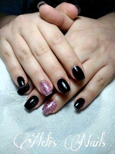 Black nails Pink glitter