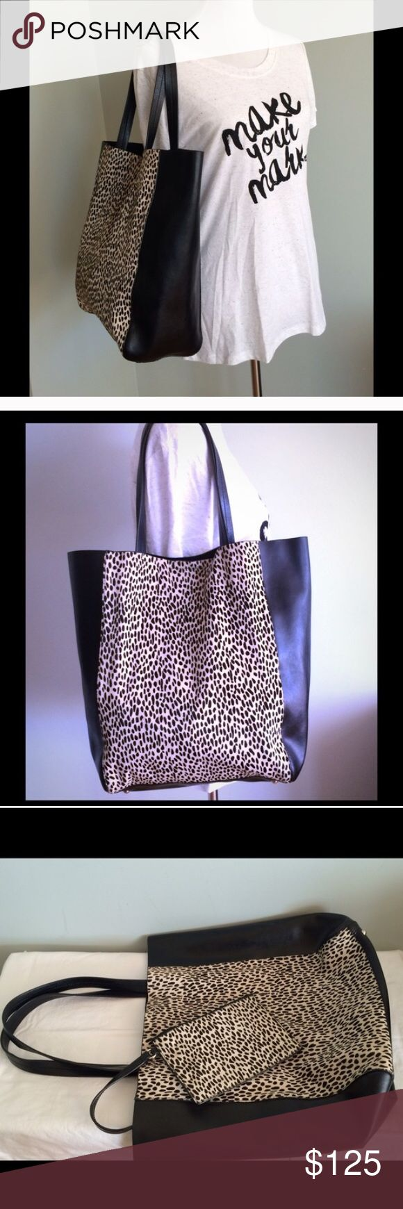 """Spotted Calf Hair Leather Banana Republic Tote 15 X 11 X 4.5"""" calf hair and leather BR tote. Gorgeous spotted bag! Goes with everything! Only used twice! Banana Republic Bags Totes"""