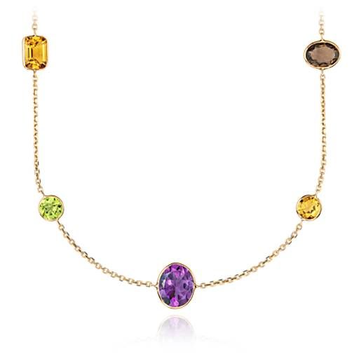 """Multicolor  Gemstone Necklace in 14k Yellow Gold (34"""" Long) (11x11mm)"""