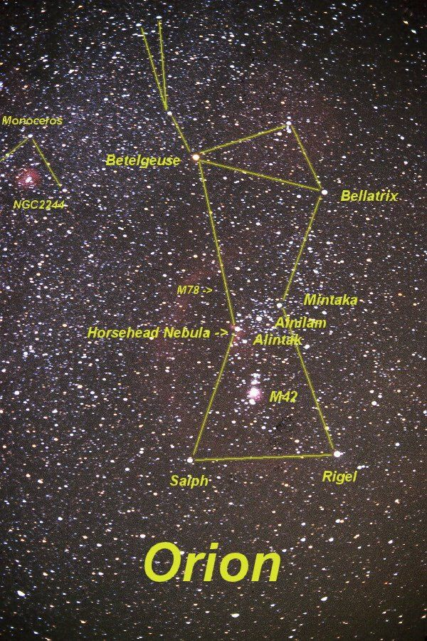 Led by the bright stars Betelgeuse and Rigel, this constellation holds many fine telescopic and binocular objects, along with some of the most photographed regions of the sky.