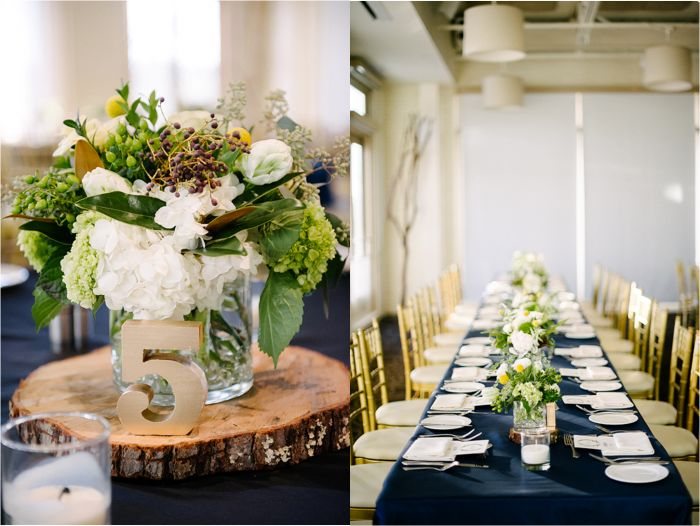 Reception Tables and Centerpieces | Navy Rustic Elegance Proximity Hotel Wedding | Julie Livingston Photography | Leigh Pearce Weddings, Greensboro North Carolina Wedding Planner, Stylist, Coordinator