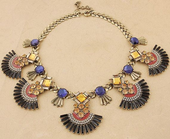 Jeweled fan necklace Jeweled fan bib necklace by shop2lopez, $54.49