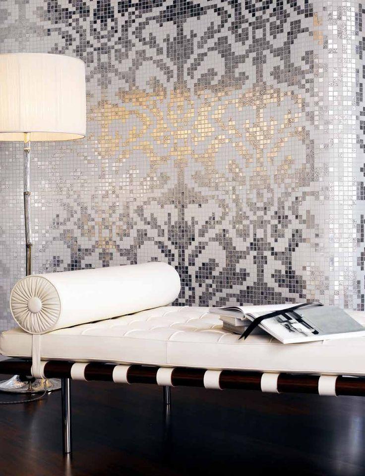 #Bisazza #Decori 2x2 cm Damasco Oro Bianco | #Oro su vetro | su #casaebagno.it a 1727 Euro/collo | #mosaico #bagno #cucina