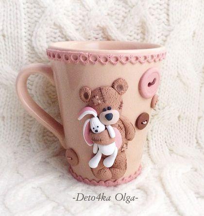 Кружечка с декором из полимерной глины `Уютный мишка`