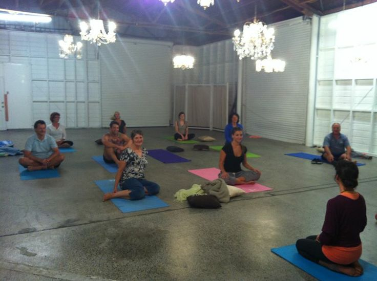 Yoga in the old honey house!