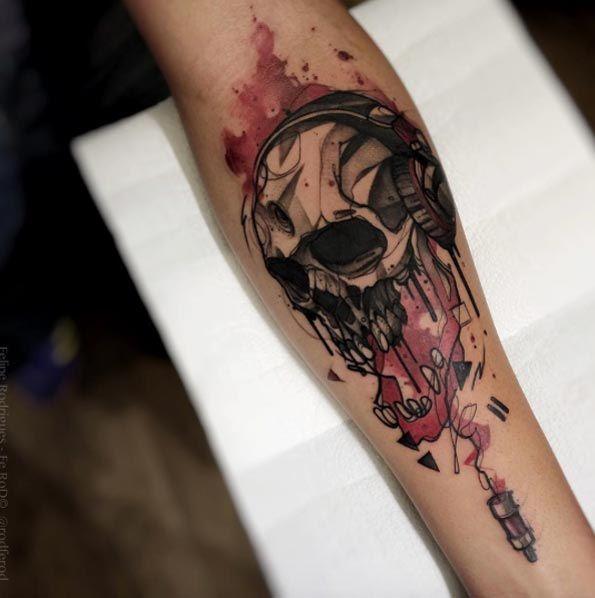 Watercolor Skull with Headphones by Felipe Rodrigues Fe Rod