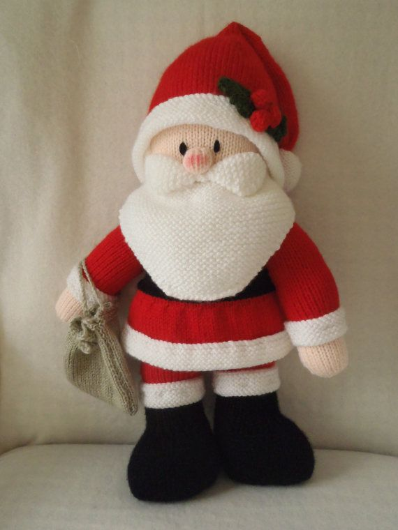 Knitted Father Christmas Pattern Free : Hand Knitted Father Christmas Toy designed by Jean Greenhowe and knitted by m...