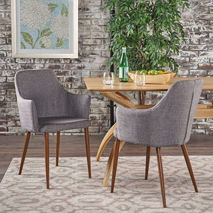 Serra Mid Century Modern Light Grey Fabric Dining Chair With Dark Brown Wood Finishe Mid Century Dining Chairs Fabric Dining Chairs Modern Fabric Dining Chairs