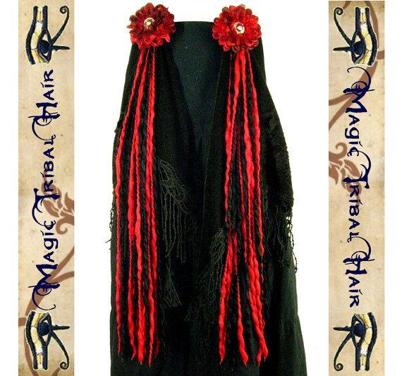 goth TRIBAL Fusion Belly Dance accessory hip & HAIR TASSELS Vampirella red black Yarn Hair Falls jewelry Fantasy costume witch vampire demon