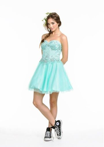 Cheap and Australia 2016 Mint A-line Sweetheart Neckline Beaded Appliques Tulle Mini Length Homecoming/ Evening Dress/ Prom Dresses CS1305 from Dresses4Australia.com.au