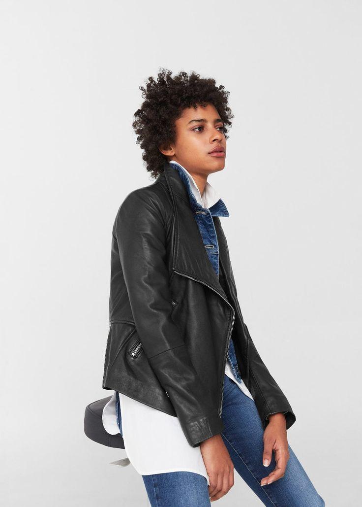 Skórzana kurtka z klapami | MANGO