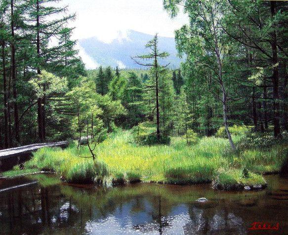 初夏の信州・蓼科高原です。御泉水自然園の中にある池で、遠くには蓼科山が見えています。主にパステルを使用しています。5mmのスチレンボードに貼ってあります。ヨコ...|ハンドメイド、手作り、手仕事品の通販・販売・購入ならCreema。