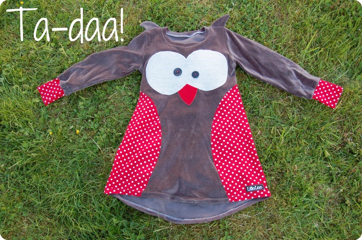 I've made a new dress-pattern. A qute owl-dress, with ears on the shoulders.