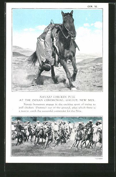 Alte Ansichtskarte: AK Gallup, New Mex, Navajo Chicken Pull at the Indian Ceremonial, Indianer Südamerikas