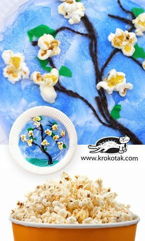 Popcorns and trees in blossom - super easy spring craft