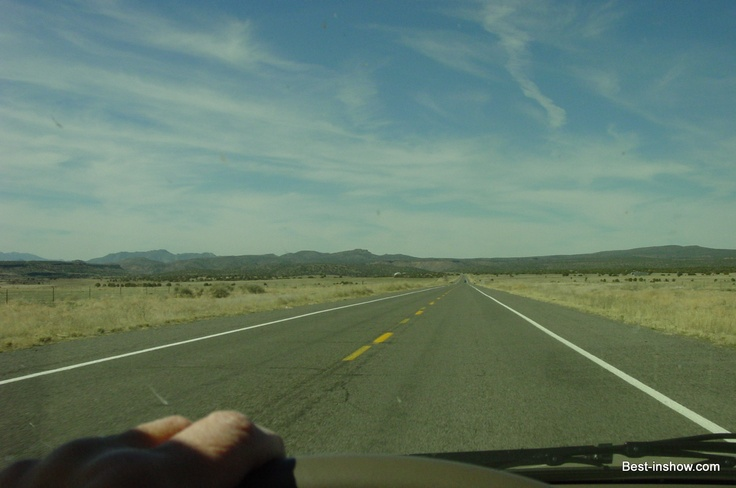 Along straight portion of US 66 in Arizona I photographed while driving.