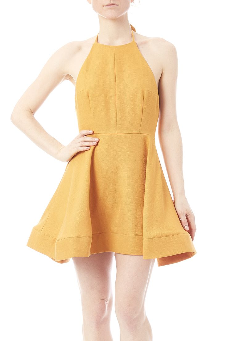 Mustard yellow dress with halter tie straps, exposed back, and a hidden zipper closure.   The Mandy Dress by luxxel. Clothing - Dresses - Casual Minneapolis, Minnesota