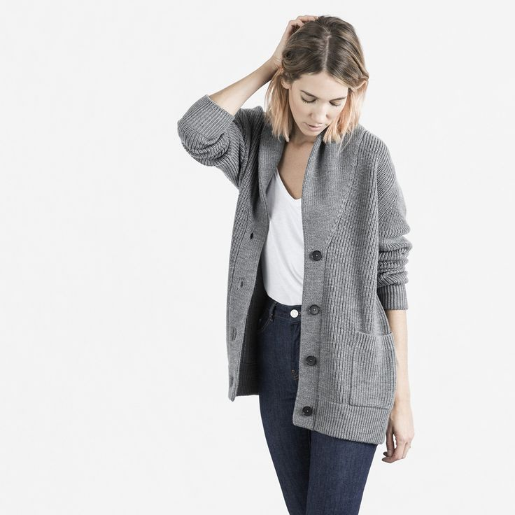 A super comforting knit cardigan with modern proportions 100% extrafine Merino wool Fabric is a soft, generous knit Features a shawl collar and contrasting buttons Wash by hand in cold water; dry clean mild