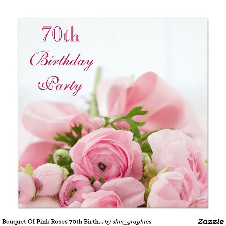 Ramo de 70.o cumpleaños de los rosas rosados