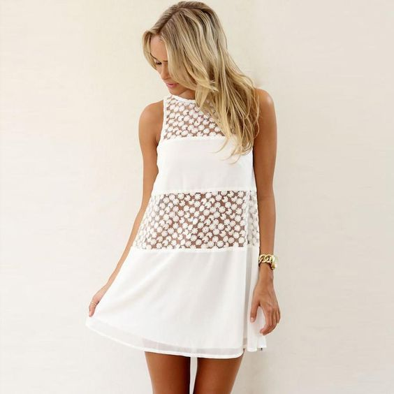 Summer Lace Beach Mini Dress