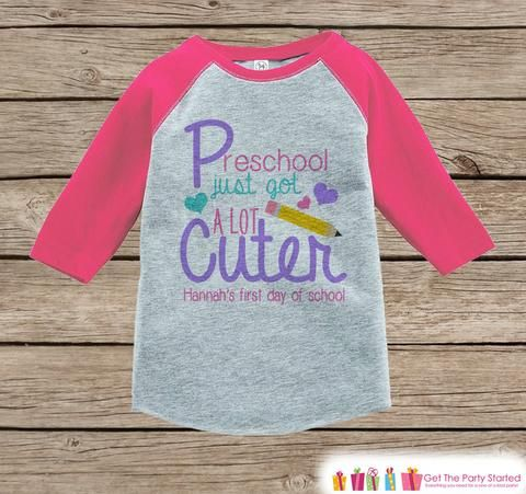 Girls First Day of School Shirt - 1st Day of Preschool Outfit - Girls Pink Raglan Tee - My 1st Day of School Tshirt - Back to School Top
