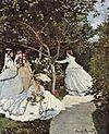 Claude Monet 024.jpg Mujeres en el jardín 1866 256 × 208 cm, óleo sobre lienzo Museo de Orsay en París