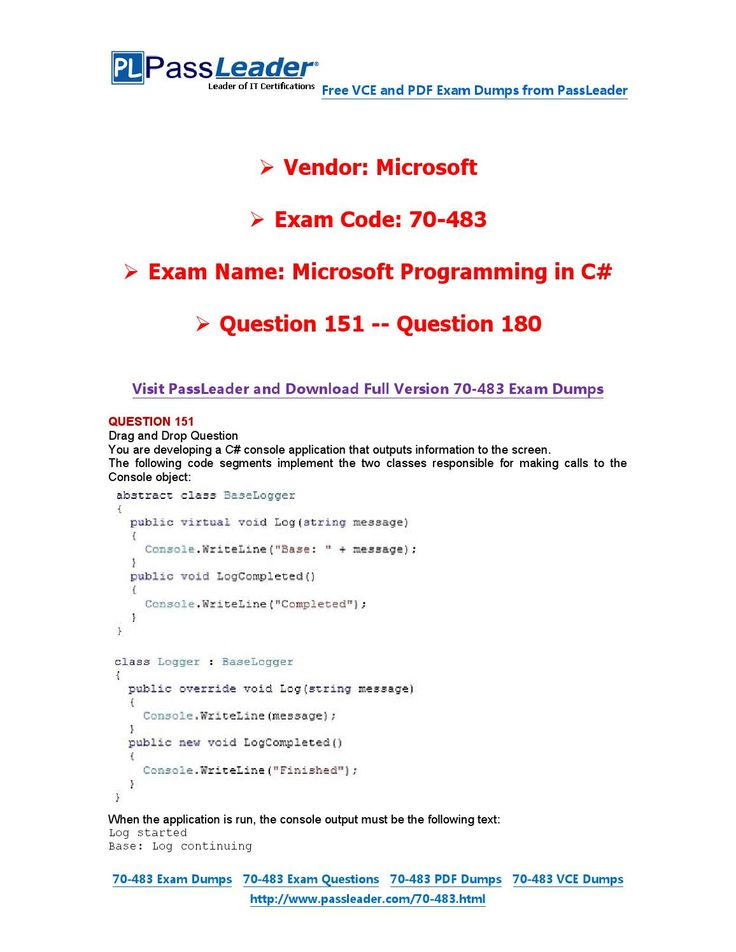 70-483 Exam Dumps with PDF and VCE Download (151-180)
