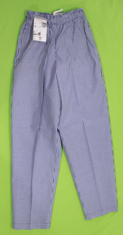 Chef Pants Sz XS Chef Works Blue Checkered Cooking Restaurant Elastic Waistband #ChefWorks