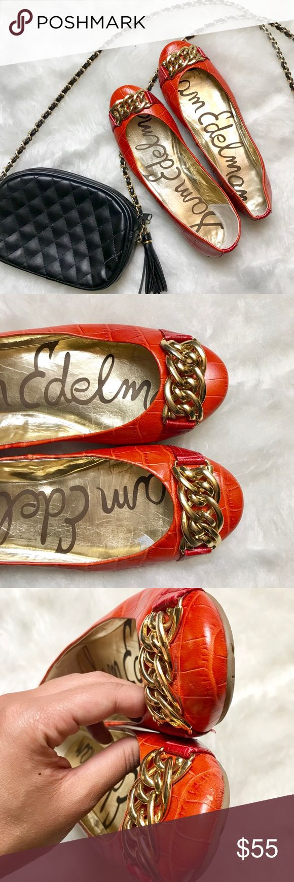 Sam Edelman Orange Leather Ballet Flats Size 8 Eye catching chic orange leather ballet flats by Sam Edelman with gold chain detail on front of shoes. Small blemish on one shoe noted in photos but hardly noticeable, shoes are in great condition. Perfect fall color! Women's size 8. Sam Edelman Shoes Flats & Loafers