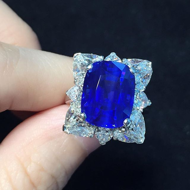 Kashmir, the King of all sapphires, this gem of gems, weighing an impressive 10.21 carats.