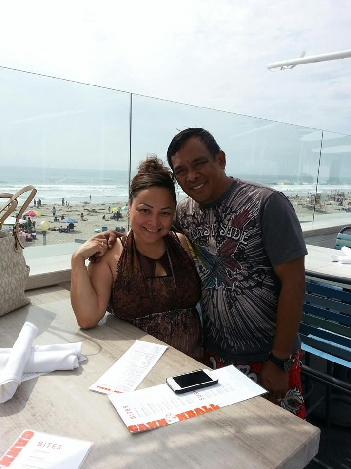 My Husband and I at Mission Beach, Cannonball rooftop.