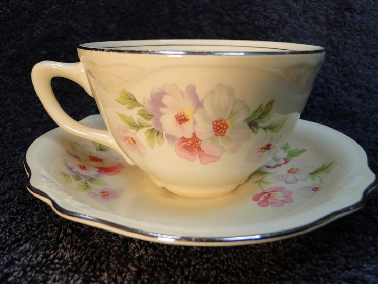 Homer Laughlin Virginia Rose FLUFFY ROSE Tea Cup Saucer Set - Multi Avail NICE! #HomerLaughlin