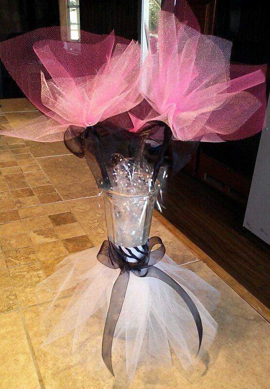 Centerpiece Ideas Using Tulle : Centros de tutu florero con flores tul ideales por