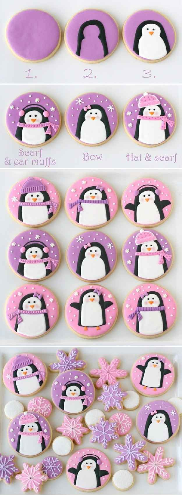 Pink And Purple Penguin Cookies