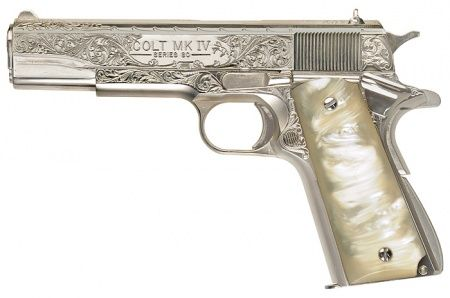 I just discovered IMFDB (Internet Movie Firearms DataBase).  This is the page for Supernatural.  Pictured is my baby, Colt M1911A1 and Dean's 45 pistol, engraved along the slide, chrome plated with an ivory grip.  FREAKING GORGEOUS.