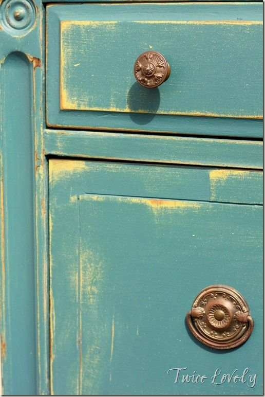 Chalk Paint Blue and Yellow Layering