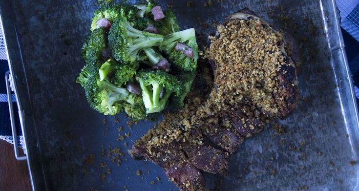 Aki's amazing pork chops with spicy broccoli. One of the easiest and tastiest pork chop recipes served with spicy broccoli and a sage, white wine sauce.