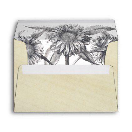 botanical sunflower flowers rice paper envelope paper envelopes