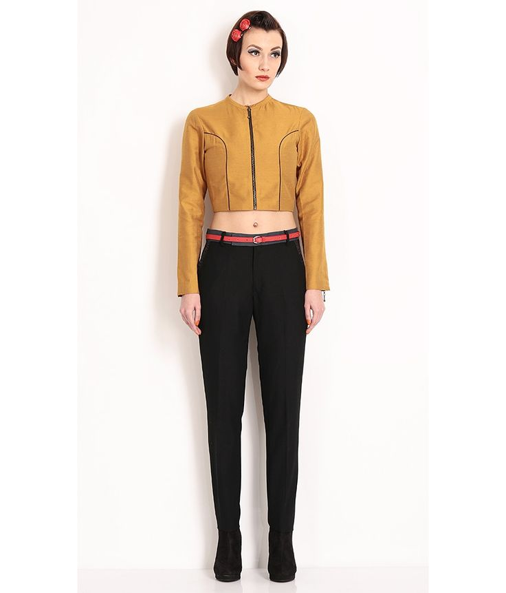 Nida Mehmood Yellow Ocher Crop Top With Front Zipper, http://www.snapdeal.com/product/nida-mehmood-yellow-ocher-crop/1116701825