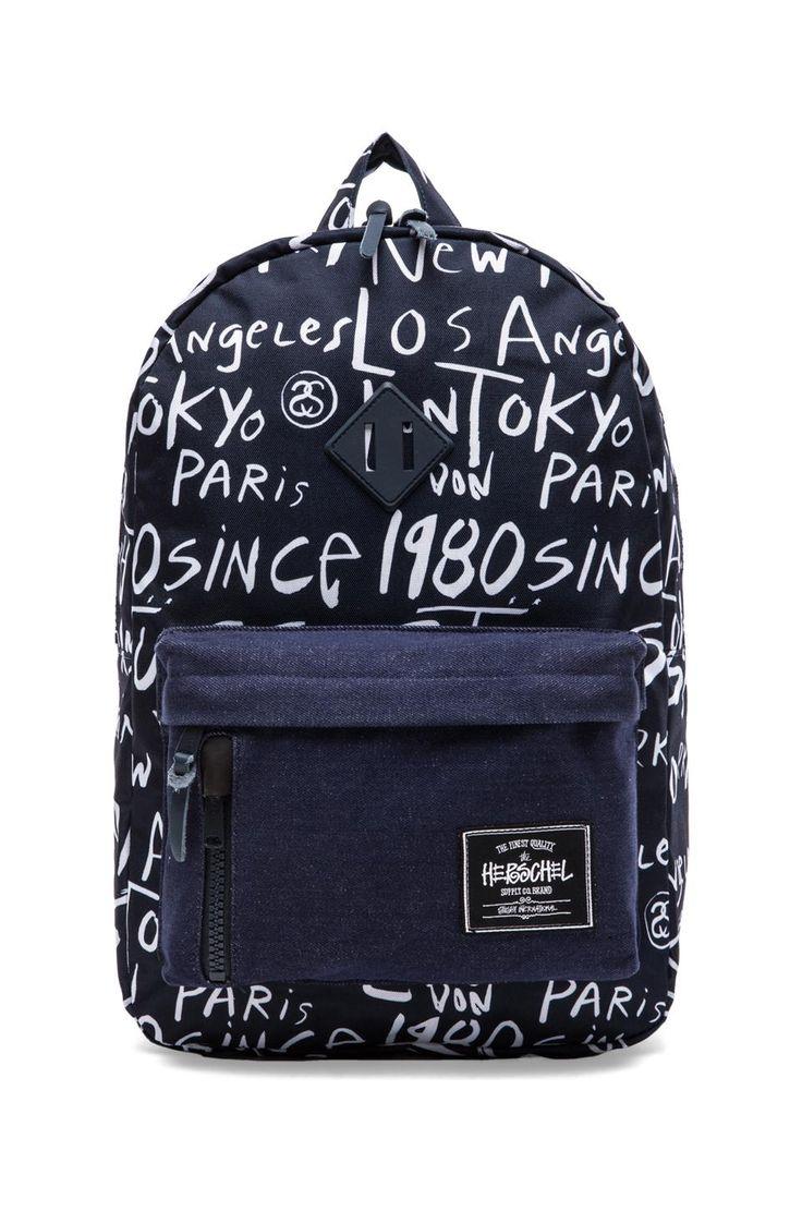 Stussy x Herschel Cities Backpack in Navy Print