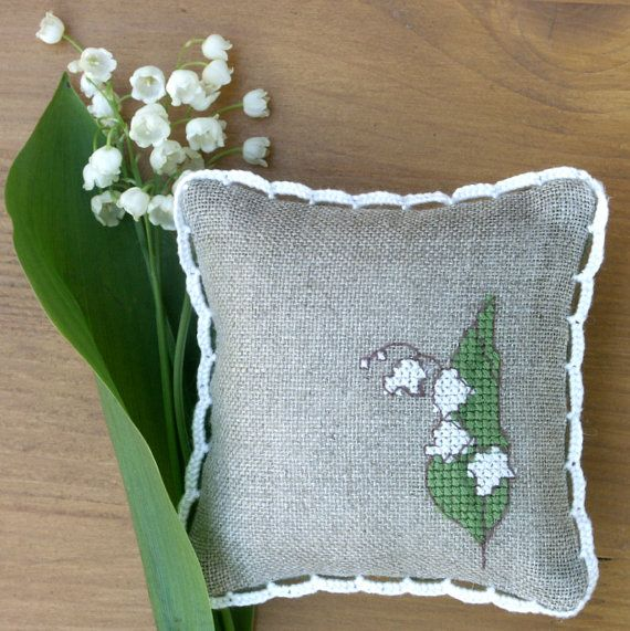 embroidered linen pincushion lily of the valley