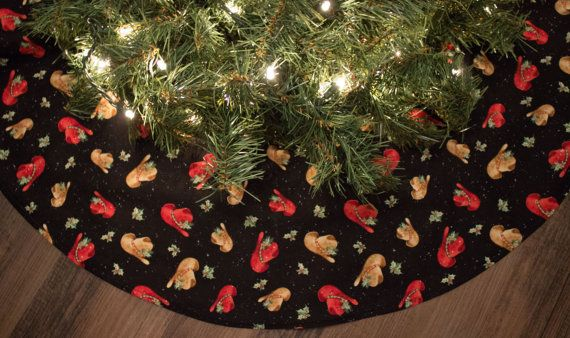 Christmas Tree Skirt Cowboy Southwestern by SweetwaterBoutiqueFL