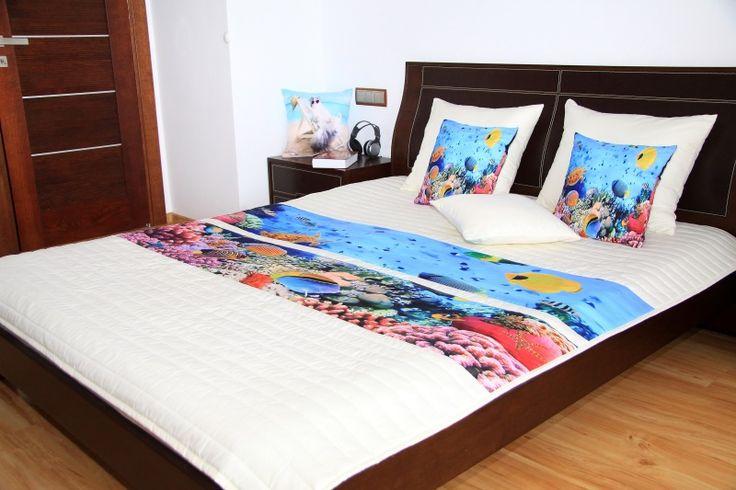 Biele prehozy na posteľ s detským motívom mora
